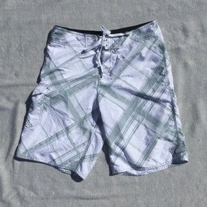 O'Neill white/gray board shorts size 32